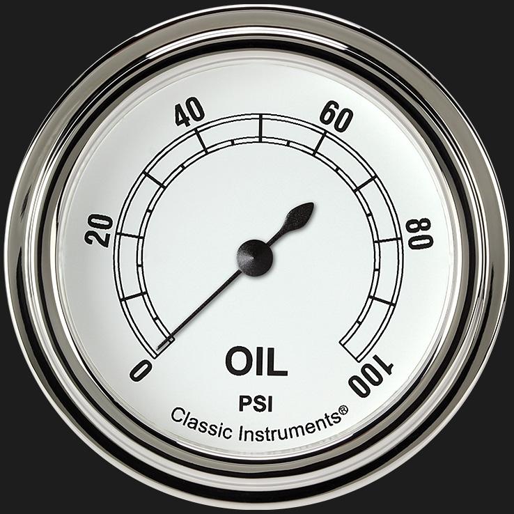 "Picture of Classic White 2 5/8"" Oil Pressure Gauge"