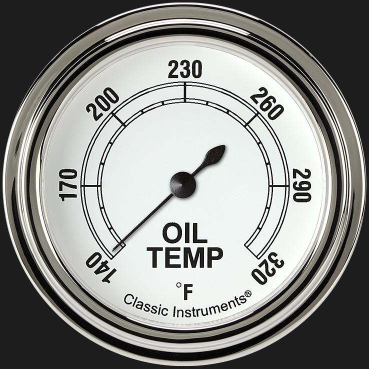 """Picture of Classic White 2 5/8"""" Oil Temperature Gauge"""