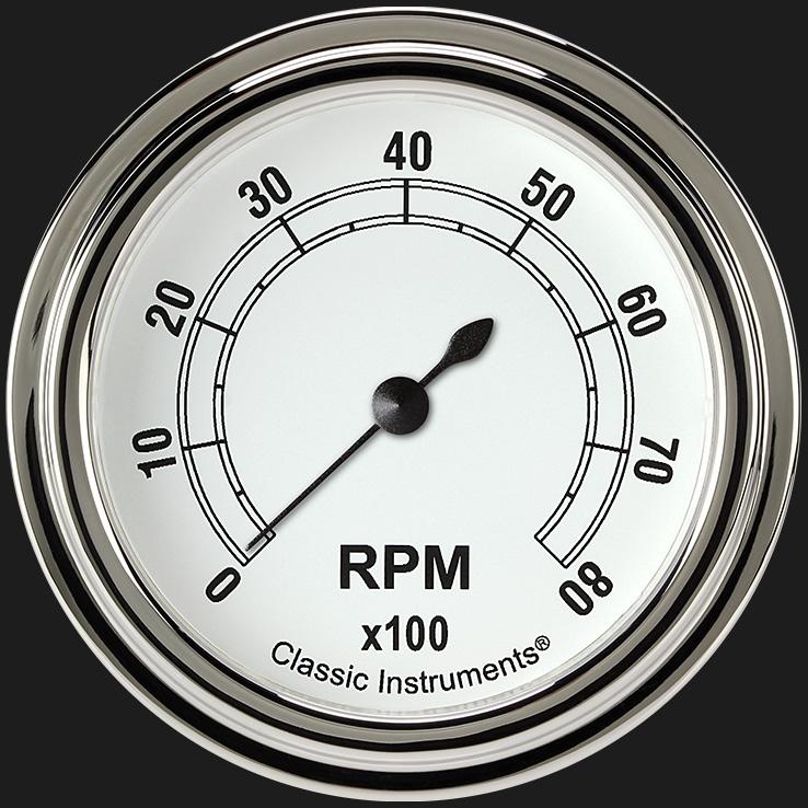 "Picture of Classic White 2 5/8"" Tachometer"