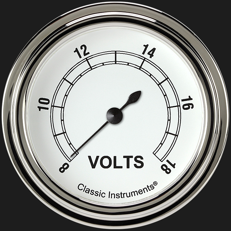"""Picture of Classic White 2 5/8"""" Voltage Gauge"""