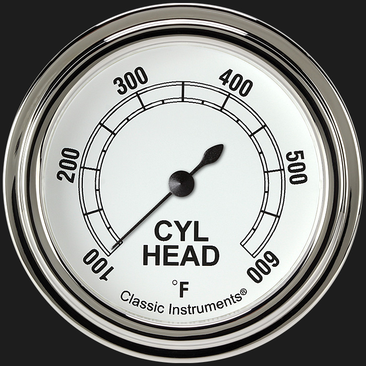"""Picture of Classic White 2 5/8"""" Cylinder Head Temp. Gauge"""