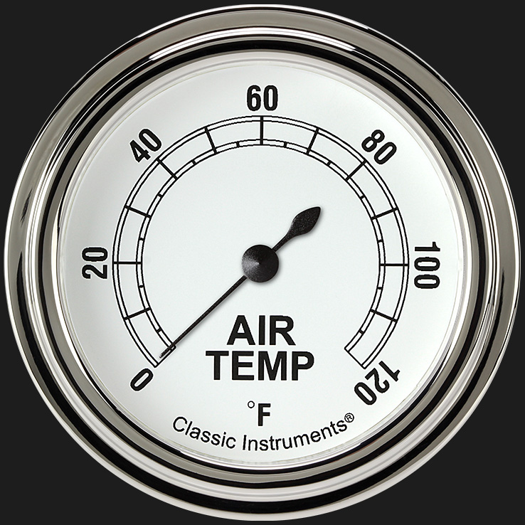 """Picture of Classic White 2 5/8"""" Outside Air Temp Gauge"""