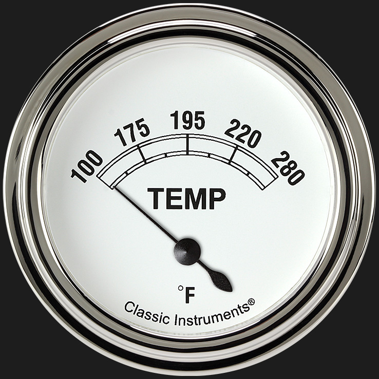 "Picture of Classic White 2 5/8"" Water Temp Gauge"