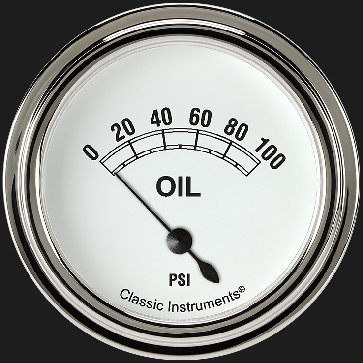 "Picture of Classic White 2 5/8"" Oil Pressure Gauge"