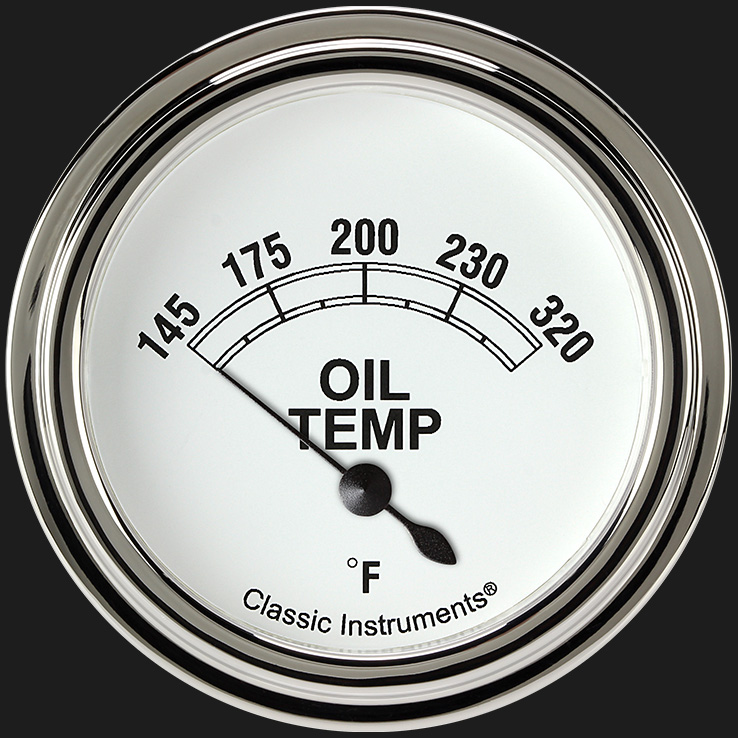 "Picture of Classic White 2 5/8"" Oil Temperature Gauge"