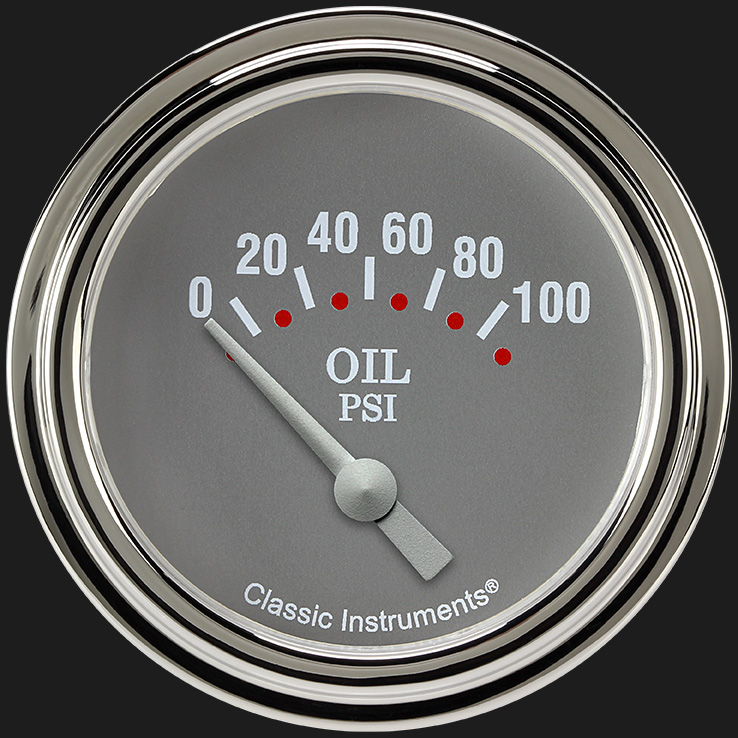"Picture of Silver Gray 2 5/8"" Oil Pressure Gauge"