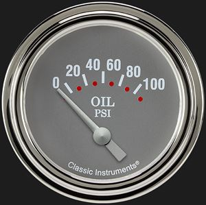 """Picture of Silver Gray 2 5/8"""" Oil Pressure Gauge"""