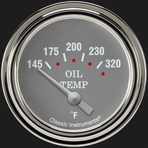 """Picture of Silver Gray 2 5/8"""" Oil Temperature Gauge"""
