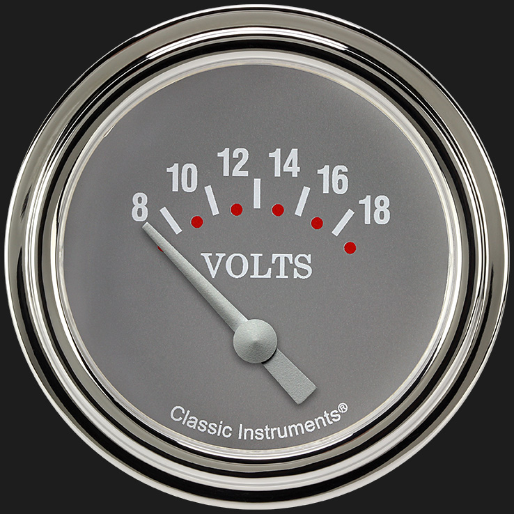 "Picture of Silver Gray 2 5/8"" Volt Gauge"