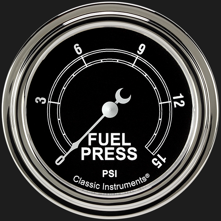 """Picture of Traditional 2 5/8"""" Fuel Pressure Gauge, 15 psi"""