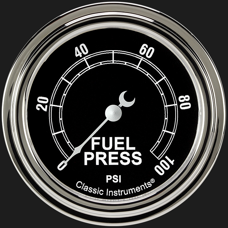 """Picture of Traditional 2 5/8"""" Fuel Pressure Gauge, 100 psi"""