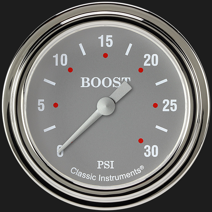 "Picture of Silver Gray 2 5/8"" Boost Gauge, 30 psi"