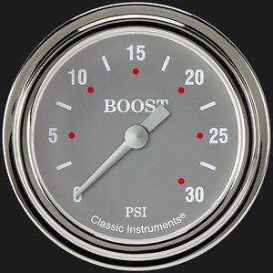 """Picture of Silver Gray 2 5/8"""" Boost Gauge, 30 psi"""