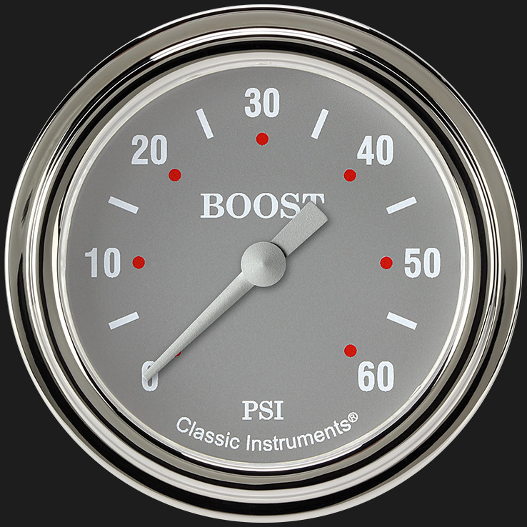 "Picture of Silver Gray 2 5/8"" Boost Gauge, 60 psi"