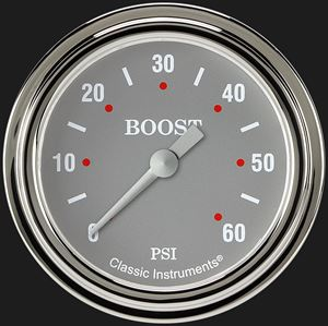 """Picture of Silver Gray 2 5/8"""" Boost Gauge, 60 psi"""