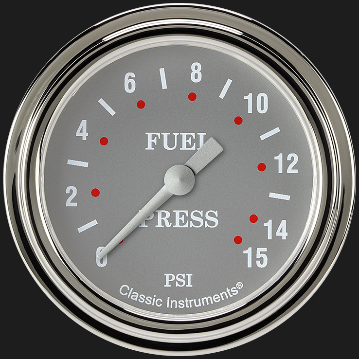 "Picture of Silver Gray 2 5/8"" Fuel Pressure Gauge, 15 psi"