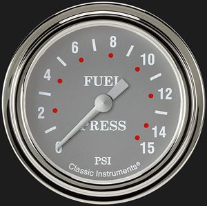 """Picture of Silver Gray 2 5/8"""" Fuel Pressure Gauge, 15 psi"""