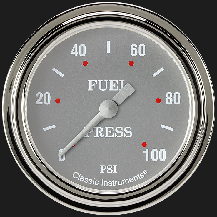 "Picture of Silver Gray 2 5/8"" Fuel Pressure Gauge, 100 psi"