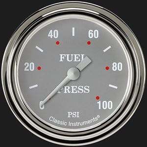 """Picture of Silver Gray 2 5/8"""" Fuel Pressure Gauge, 100 psi"""