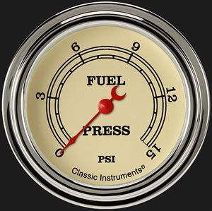 "Picture of Vintage 2 5/8"" Fuel Pressure Gauge, 15 psi"