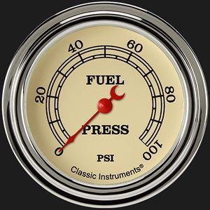 "Picture of Vintage 2 5/8"" Fuel Pressure Gauge, 100 psi"