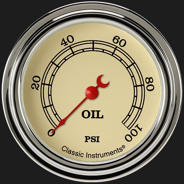 "Picture of Vintage 2 5/8"" Oil Pressure Gauge"