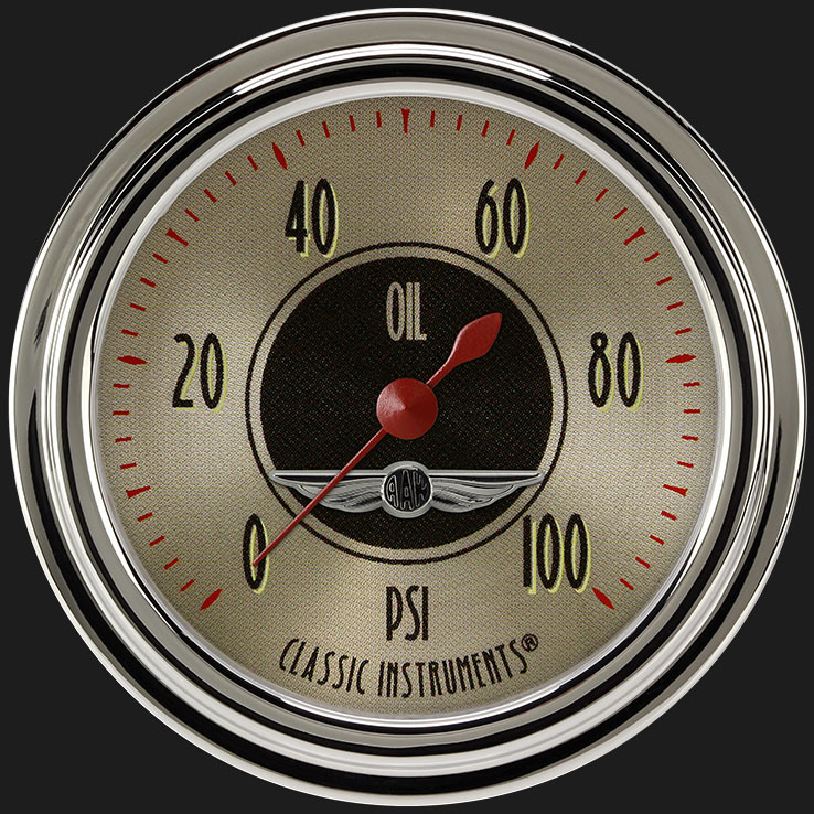 """Picture of All American Nickel 2 5/8"""" Oil Pressure Gauge"""