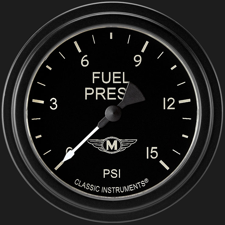 """Picture of Moal Bomber 2 5/8"""" Fuel Pressure Gauge, 15 psi"""