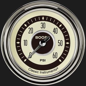 "Picture of Nostalgia VT 2 5/8"" Boost Gauge, 60 psi"