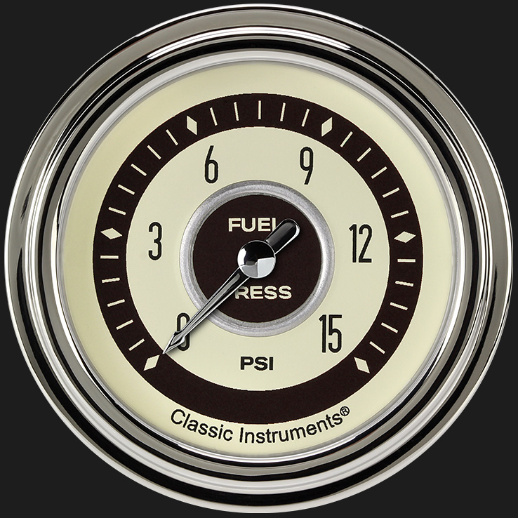 "Picture of Nostalgia VT 2 5/8"" Fuel Pressure Gauge, 15 psi"