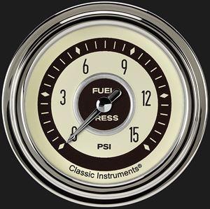 """Picture of Nostalgia VT 2 5/8"""" Fuel Pressure Gauge, 15 psi"""