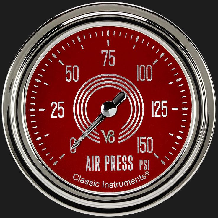 """Picture of V8 Red Steelie 2 5/8"""" Air Pressure Gauge"""