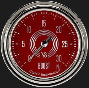 "Picture of V8 Red Steelie 2 5/8"" Boost Gauge, 30 psi"