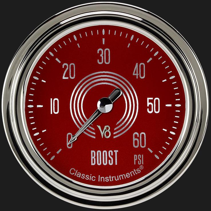 "Picture of V8 Red Steelie 2 5/8"" Boost Gauge, 60 psi"