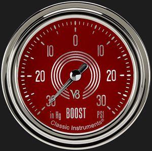 "Picture of V8 Red Steelie 2 5/8"" Boost/Vac Gauge"