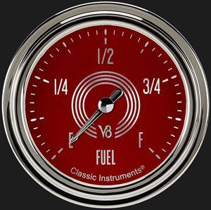 """Picture of V8 Red Steelie 2 5/8"""" Fuel Gauge"""