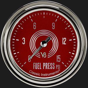 """Picture of V8 Red Steelie 2 5/8"""" Fuel Pressure Gauge, 15 psi"""