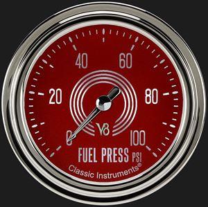 """Picture of V8 Red Steelie 2 5/8"""" Fuel Pressure Gauge, 100 psi"""