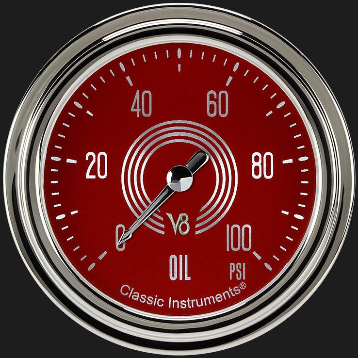 """Picture of V8 Red Steelie 2 5/8"""" Oil Pressure Gauge"""