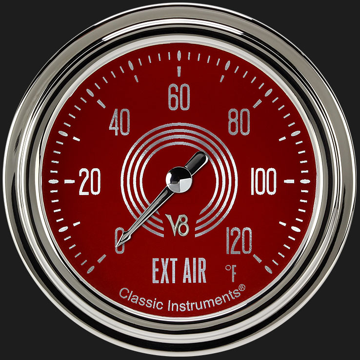 """Picture of V8 Red Steelie 2 5/8"""" Outside Air Temp Gauge"""