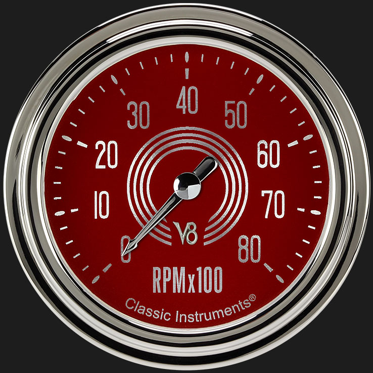 """Picture of V8 Red Steelie 2 5/8"""" Tachometer"""