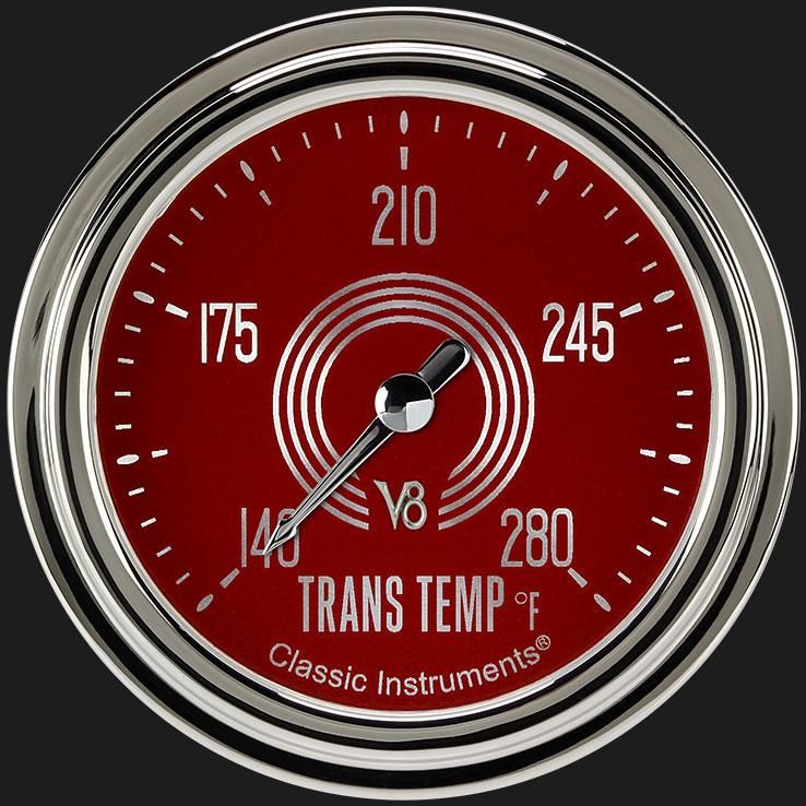"""Picture of V8 Red Steelie 2 5/8"""" Transmission Temperature Gauge"""