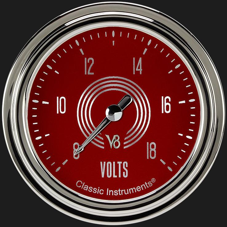 """Picture of V8 Red Steelie 2 5/8"""" Voltage Gauge"""