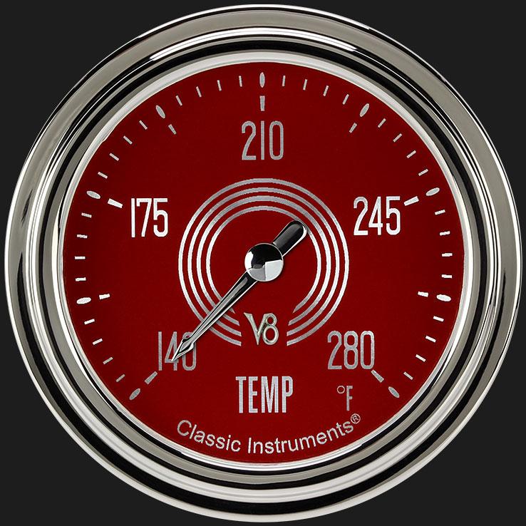 "Picture of V8 Red Steelie 2 5/8"" Water Temperature Gauge"