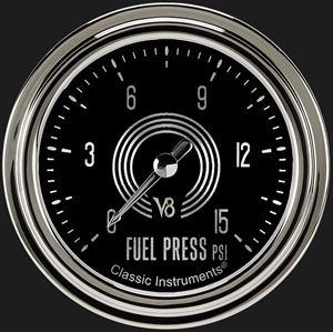 """Picture of V8 Speedster 2 5/8"""" Fuel Pressure Gauge, 15 psi"""
