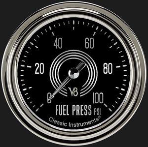 """Picture of V8 Speedster 2 5/8"""" Fuel Pressure Gauge, 100 psi"""
