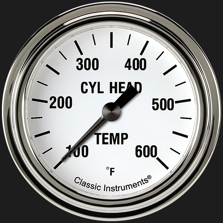 """Picture of White Hot 2 5/8"""" Cylinder Head Temp. Gauge"""
