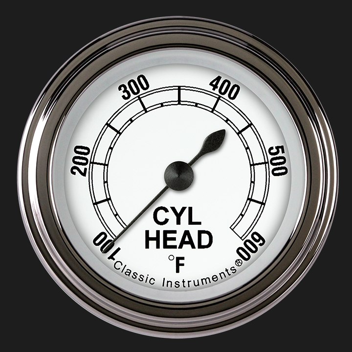 """Picture of Classic White 2 1/8"""" Cylinder Head Temp. Gauge"""