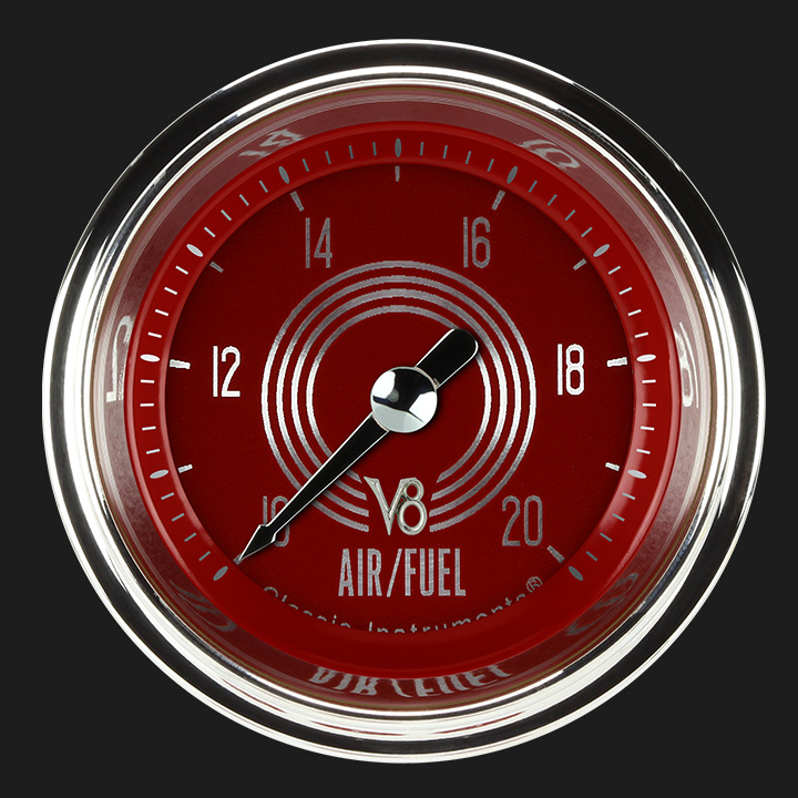 """Picture of V8 Red Steelie 2 1/8"""" Air Fuel Ratio Gauge"""