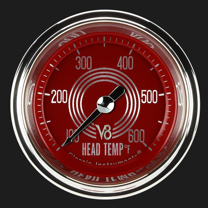 """Picture of V8 Red Steelie 2 1/8"""" Cylinder Head Temp. Gauge"""